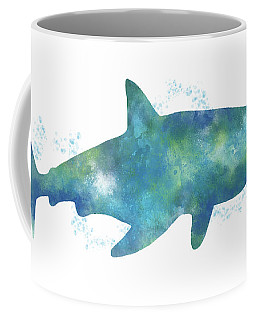 Blue Watercolor Shark- Art By Linda Woods Coffee Mug