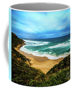 Blue Wave Beach Coffee Mug by Perry Webster