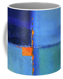 Coffee Mug featuring the painting Blue Window Abstract by Nancy Merkle