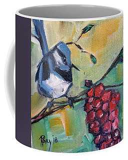 Blue Wren With Grapes Coffee Mug