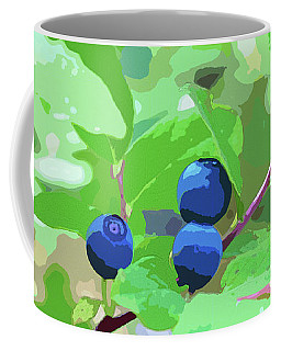 Blueberries Halftone Coffee Mug by Cathy Mahnke