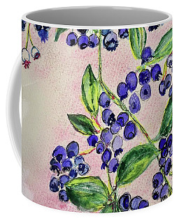 Coffee Mug featuring the painting Blueberries by Kim Nelson