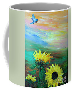 Bluebird Flying Over Sunflowers Coffee Mug by Robin Maria Pedrero