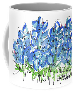 Bluebonnet Dance Whimsey,by Kathleen Mcelwaine Southern Charm Print Watercolor, Painting, Coffee Mug by Kathleen McElwaine