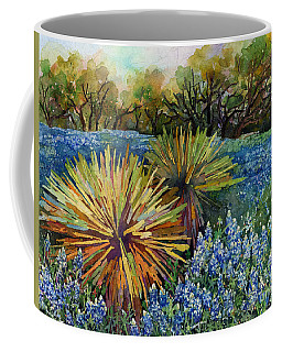 Coffee Mug featuring the painting Bluebonnets And Yucca by Hailey E Herrera