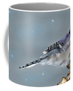 Coffee Mug featuring the digital art Winter Bluejay by Darren Cannell