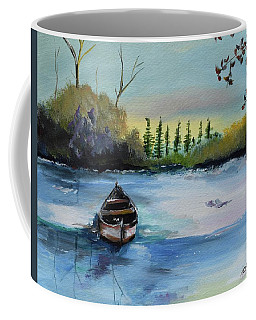 Coffee Mug featuring the painting Boat Abandoned On The Lake by Jan Dappen