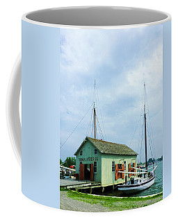Coffee Mug featuring the photograph Boat By Oyster Shack by Susan Savad