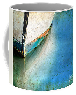 Coffee Mug featuring the photograph Bow Of An Old Boat Reflecting In Water by Jill Battaglia