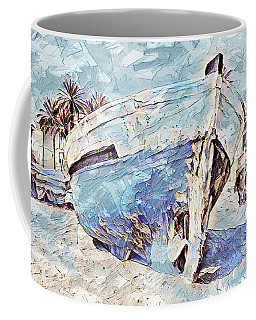 Coffee Mug featuring the painting Boat On Sand Of A Beach Shore by Lita Kelley