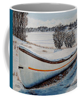 Coffee Mug featuring the painting Boat Under Snow by Marilyn  McNish