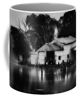 Coffee Mug featuring the photograph Boathouse Bw by Bill Wakeley