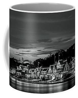 Boathouse Row Philadelphia Pa Night Black And White Coffee Mug