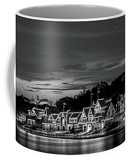 Boathouse Row Philadelphia Pa Night Black And White Coffee Mug