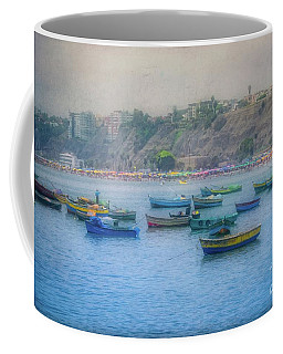 Coffee Mug featuring the photograph Boats In Blue Twilight - Lima, Peru by Mary Machare