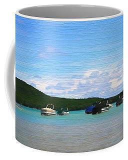 Boats In Sleeping Bear Bay Wood Texture Coffee Mug by Dan Sproul
