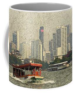 Boats In The Chao Phraya River Coffee Mug