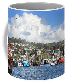 Boats In Yaquina Bay Coffee Mug by James Eddy