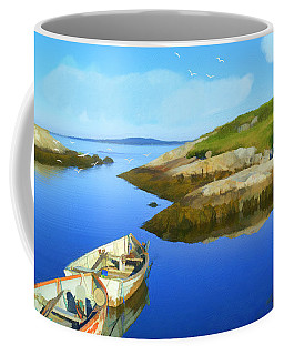 Boats Waiting In Calm Waters Coffee Mug by Ken Morris