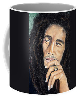 Coffee Mug featuring the drawing Bob Marley by Ashley Kujan