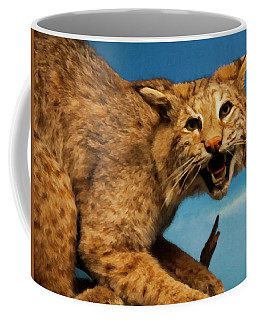 Coffee Mug featuring the digital art Bobcat On A Branch by Chris Flees