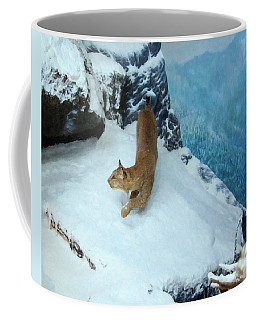Coffee Mug featuring the digital art Bobcat On A Mountain Ledge by Chris Flees