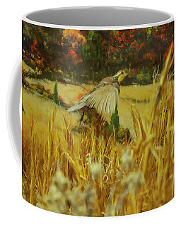 Coffee Mug featuring the digital art Bobwhite In Flight by Chris Flees