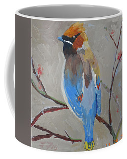 Coffee Mug featuring the painting Bohemian Wax Wing by Francine Frank