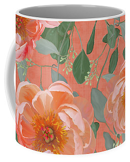 Coffee Mug featuring the painting Bold Peony Seeded Eucalyptus Leaves Repeat Pattern by Audrey Jeanne Roberts