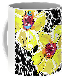Coffee Mug featuring the mixed media Bold Yellow Poppies- Art By Linda Woods by Linda Woods