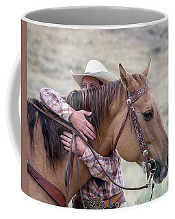 Coffee Mug featuring the photograph Bond Between Rider And Horse by Jack Bell