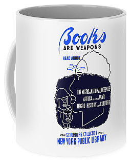 Coffee Mug featuring the painting Books Are Weapons - Wpa by War Is Hell Store