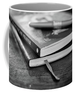 Coffee Mug featuring the photograph Books, Journal And Pen by Monte Stevens