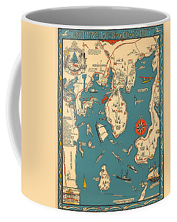 Boothbay Harbor And Vicinity - Vintage Illustrated Map - Pictorial - Cartography Coffee Mug