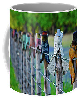 Coffee Mug featuring the photograph Boots On The Fence by Linda Unger