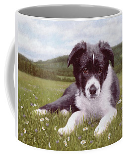 Border Collie Puppy Painting Coffee Mug