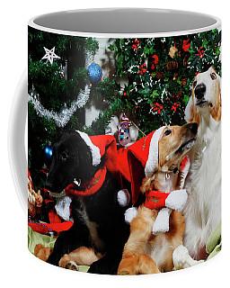Borzoi Hounds Dressed As Father Christmas Coffee Mug by Christian Lagereek