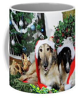 Borzoi Puppies Wishing A Merry Christmas Coffee Mug by Christian Lagereek