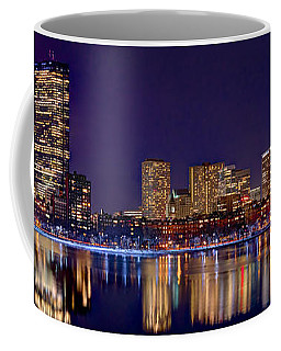 Boston Back Bay Skyline At Night 2017 Color Panorama 1 To 3 Ratio Coffee Mug