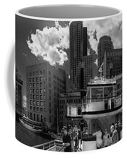 Coffee Mug featuring the photograph Boston Harbor Panoramic In Black And White by Joann Vitali