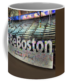 Coffee Mug featuring the photograph Boston Marathon Sign by Joann Vitali