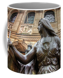 Coffee Mug featuring the photograph Boston Public Library Lady Sculpture by Joann Vitali