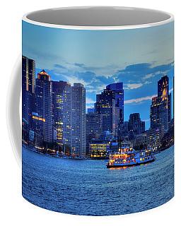 Coffee Mug featuring the photograph Boston Skyline At Night - Boston Harbor by Joann Vitali