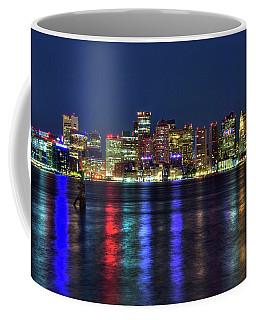 Coffee Mug featuring the photograph Boston Skyline Harborside At Night  by Joann Vitali