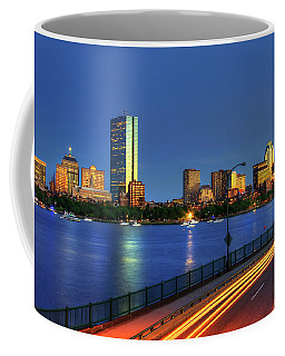 Coffee Mug featuring the photograph Boston Skyline Sunset Over Back Bay And The Charles River by Joann Vitali