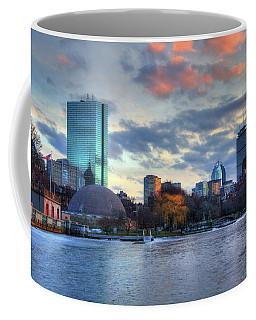 Boston Skyline Winter Sunset Coffee Mug