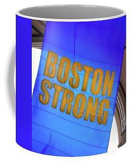 Coffee Mug featuring the photograph Boston Strong - Boston Marathon Banner by Joann Vitali