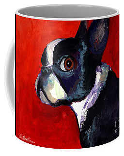 Boston Terrier Dog Portrait 2 Coffee Mug by Svetlana Novikova
