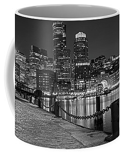 Boston Waterfront Boston Skyline Black And White Coffee Mug