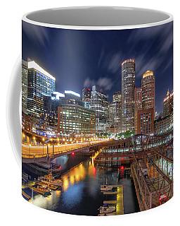 Boston's Skyline At Night Coffee Mug